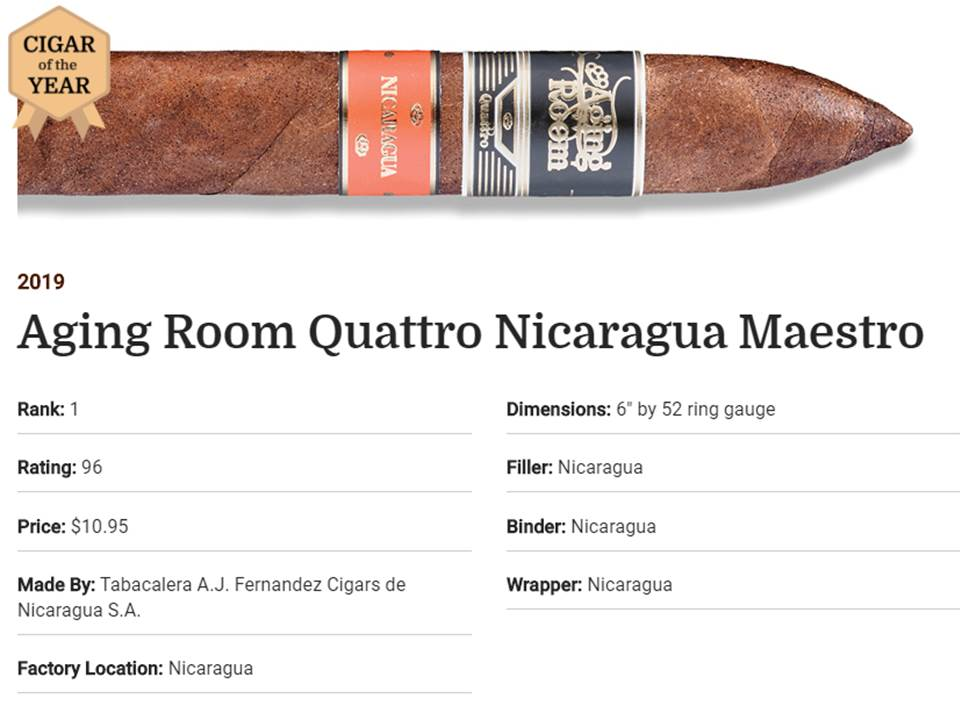 Top 10 Cigars 2019 da Revista Cigar Aficionado